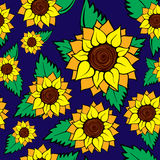 zonnebloem naadloos patroon royalty-vrije illustratie