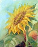 Zonnebloem, olie op canvas Royalty-vrije Stock Afbeelding