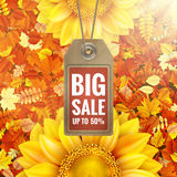 Zonnebloem op de herfstgebladerte met verkoopmarkering Eps 10 Stock Afbeelding