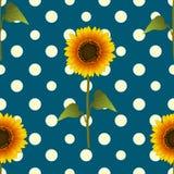 Zonnebloem op Gele Polka Dots Blue Teal Background Vector illustratie Royalty-vrije Stock Afbeelding
