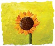Zonnebloem op groene achtergrond Stock Afbeelding