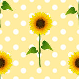 Zonnebloem op Witte Polka Dots Yellow Background Vector illustratie stock illustratie