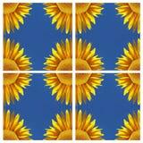 Zonnebloem-patroon met blauwe hemel, symmetrie vector illustratie