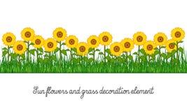 Zonnebloemen en het Element van de Grasdecoratie stock illustratie