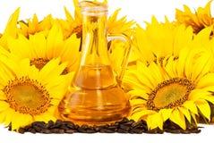 Zonnebloemen, olie en zaden Royalty-vrije Stock Fotografie