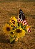 Zonnebloemen op 4 van Juli Royalty-vrije Stock Afbeelding