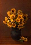 Zonnebloemen in oude kleipot. Royalty-vrije Stock Foto's
