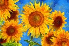 Zonnebloemen Van Gogh-stijlimitatie Royalty-vrije Stock Foto