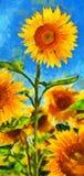 Zonnebloemen Van Gogh-stijlimitatie Stock Foto's