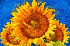 Zonnebloemen Van Gogh-stijlimitatie Stock Foto