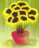 Zonnebloemstilleven het Abstracte Schilderen Stock Fotografie