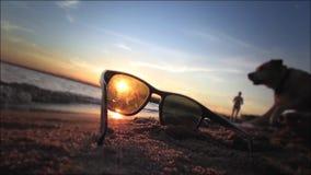 Zonnebril die op het strand adverteren stock video