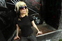 Zonnebril en blond haar Royalty-vrije Stock Foto's