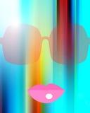 Zonnebril en roze lippen Stock Foto's