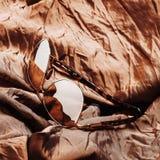 Zonnebril met bruine lenzen op bruine glanzende stof stock foto's