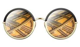 Zonnebril met weerspiegeling van wegkruising Royalty-vrije Stock Foto