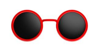 Zonnebril om rood met zwarte die lens, knipsel, op een witte achtergrond wordt geïsoleerd, 3d illustratie Royalty-vrije Stock Foto's