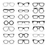 Zonnebril, oogglazen, geek vector de silhouettenpictogrammen van glazen verschillende modelvormen vector illustratie