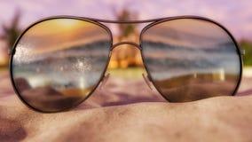 Zonnebril op strand - 3D Illustratie stock illustratie
