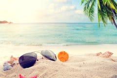 Zonnebril op zandig in het strand van de kustzomer met zeester, shells, koraal op sandbar en onduidelijk beeld overzeese achtergr Royalty-vrije Stock Afbeelding