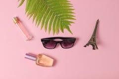 Zonnebril, parfumflessen, een beeldje van de Toren van Eiffel, varenblad op een roze pastelkleurachtergrond minimalism vlak leg s stock afbeelding