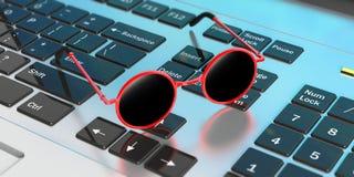 Zonnebril rood rond kader met zwarte lens, op computertoetsenbord 3D Illustratie Royalty-vrije Stock Foto's