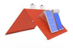 ZonnedieWaterverwarmer en Zonnepaneel op Red Roof wordt geïnstalleerd 3D r Stock Afbeeldingen