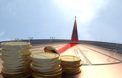 Zonnehorloge met gouden muntstuk en duidelijke aantallen stock illustratie