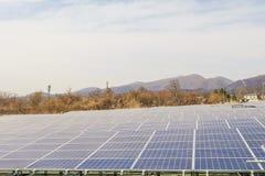Zonnemachtspanelen, Photovoltaic modules voor innovatie groene en Stock Foto
