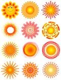 Zonnen. Elementen voor ontwerp Royalty-vrije Stock Fotografie
