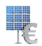 Zonnepaneel en euro teken Royalty-vrije Stock Afbeelding