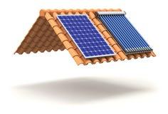 Zonnepaneel en zonneverwarmer op het dak Stock Foto's