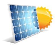 Zonnepaneel met zon Stock Foto's