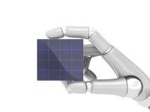 Zonnepaneel in robohand Royalty-vrije Stock Foto's