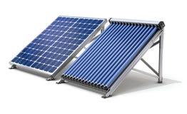 Zonnepaneelgenerator en zonneverwarmer Royalty-vrije Stock Foto's