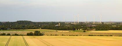 Zonnepaneelpark en Windenergie Stock Afbeeldingen