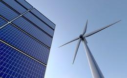 Zonnepanelen en windmolen - mening van onderaan Royalty-vrije Stock Foto