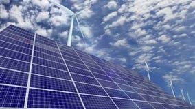 Zonnepanelen en windturbines stock video