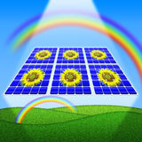 Zonnepanelen en zonnebloemen Stock Afbeeldingen