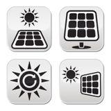Zonnepanelen, geplaatste zonne-energie witte knopen Royalty-vrije Stock Afbeeldingen