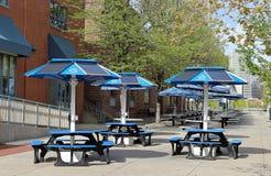 Zonnepanelen in straatkoffie in Denver van de binnenstad stock foto
