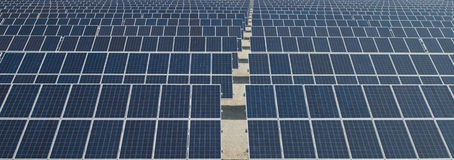 Zonnepanelen, vernieuwbare energie Stock Foto