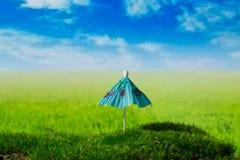 Zonnescherm op de groene fantasieweide Royalty-vrije Stock Afbeelding