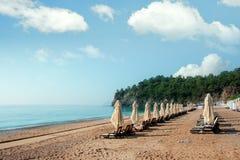 Zonneschermparaplu op overzees strand Stock Foto's