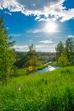 Zonneschijn in blauwe hemel Royalty-vrije Stock Foto's