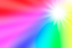 Zonneschijn in een regenboog gekleurde hemel Stock Afbeelding