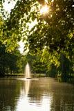 Zonneschijn en fontein stock afbeelding