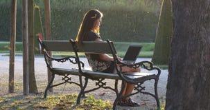 Zonneschijn en vrouw op een bank met laptop stock video