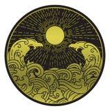 Zonneschijn en watergolf in ronde vorm stock illustratie