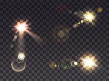 Zonneschijn met lensgloed vector illustratie